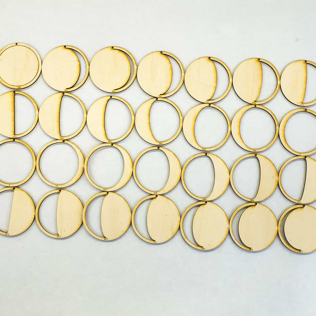Laser Cut Plywood Lunar Phases Photo